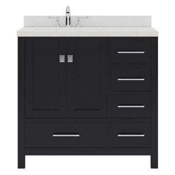 Virtu USA Caroline Avenue 36-in Espresso Undermount Single Sink Bathroom Vanity with Dazzle White Quartz Top in Brown | GS-50036-DWQRO-ES-NM