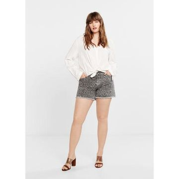 Violeta BY MANGO - Leopard printed shorts denim grey - 12 - Plus sizes