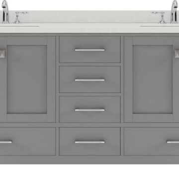 Virtu USA Caroline Avenue 72-in Double Bath Vanity in Cashmere Grey with Dazzle White Top and Round Sink in Gray | GD-50072-DWQRO-CG-NM