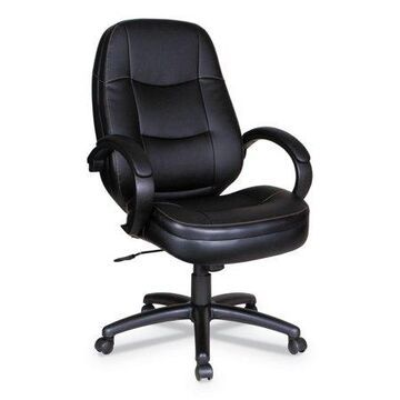 Alera Pf Series High-back Leather Office Chair, Supports Up To 275 Lbs, Black Seat/black Back, Black Base