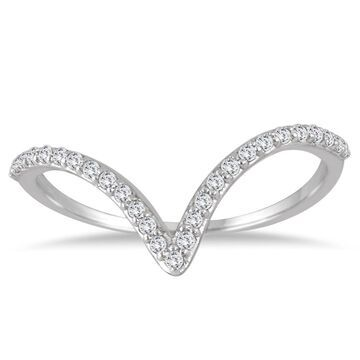 Marquee Jewels 14K White Gold 1/8CT TW Diamond V Ring