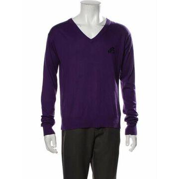 Silk V-Neck Pullover Purple