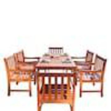 VIFAH VIFAH Malibu 7-Piece Tan Frame Patio Set