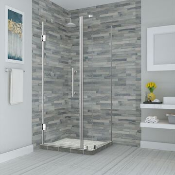 Aston Bromley 72-in H x 31-1/4-in to 32-1/4-in W Frameless Hinged Shower Door (Clear Glass) Stainless Steel   SEN967EZSS32263810