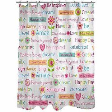 Thumbprintz Happy Day Words Shower Curtain