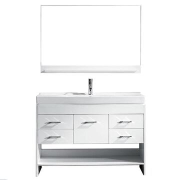 Virtu USA Gloria 48-in White Single Sink Bathroom Vanity with White Engineered Stone Top (Mirror and Faucet Included)