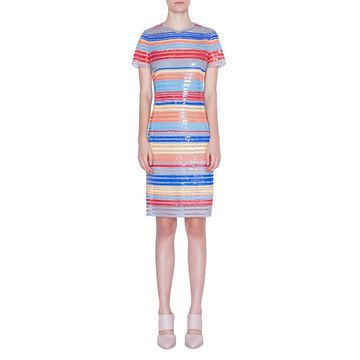 Sequined Stripe-Embroidered Dress