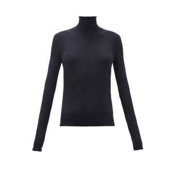 The Row - Arzino Flounced Ribbed Cashmere -blend Sweater - Womens - Navy