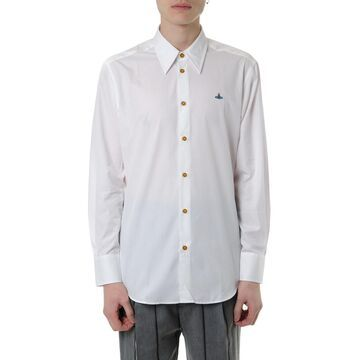Vivienne Westwood White Poplin Cotton Shirt With Logo Embroidered