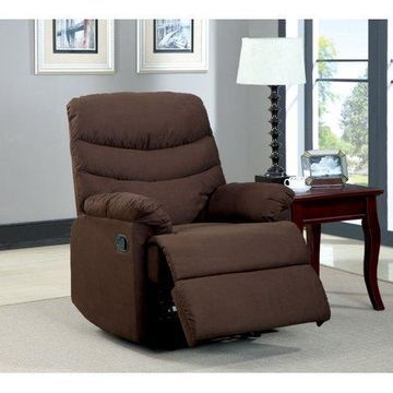 Furniture of America Cloumbus Transitional Microfiber Recliner, Brown