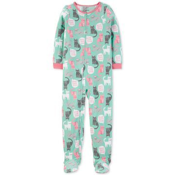 Little & Big Girls 1-Pc. Cat-Print Fleece Footed Pajamas