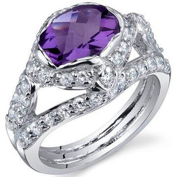 1.50 Carat T.G.W. Amethyst Rhodium-Plated Sterling Silver Engagement Ring