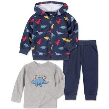 Kids Headquarters Baby Boys 3-Pc. Dinosaur Fleece Hoodie, Jogger Pants & Long-Sleeve T-Shirt Set