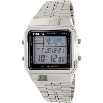 Casio Men's Classic A500WA-1 Silver Stainless-Steel Plated Japanese Quartz Dress Watch