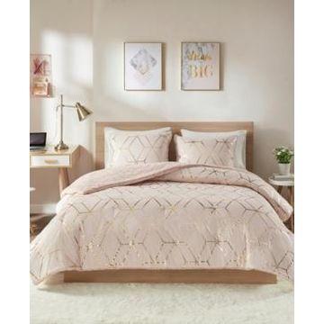Intelligent Design Ainsley King 3-Pc. Metallic Print Reversible Comforter Set Bedding