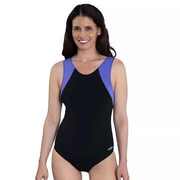 Women's Dolfin Moderate Colorblock One-Piece Swimsuit, Size: 6, Purple