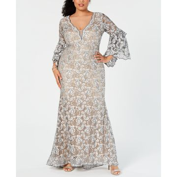 Plus Size Embellished Lace Gown