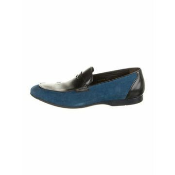 Suede Leather Trim Embellishment Dress Loafers Blue