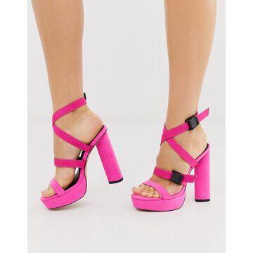 London Rebel circular platform multi strap sandals in pink