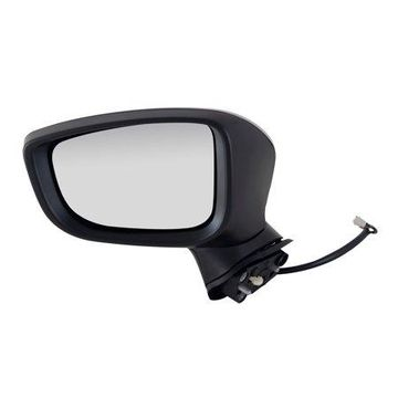 66590M - Fit System Driver Side Mirror for 14-16 Mazda 3, Japan Built, textured black w/ PTM cover, foldaway, w/o blind spot detection, Power