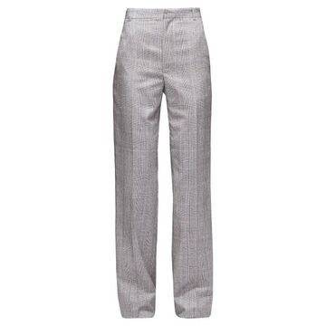 Balenciaga - Straight-leg Checked Wool Tailored Trousers - Womens - Grey