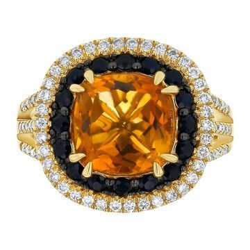 14K Yellow Gold 4 ct. Madera Citrine, Black Sapphires and Diamonds Double Halo Ring by Beverly Hills Charm