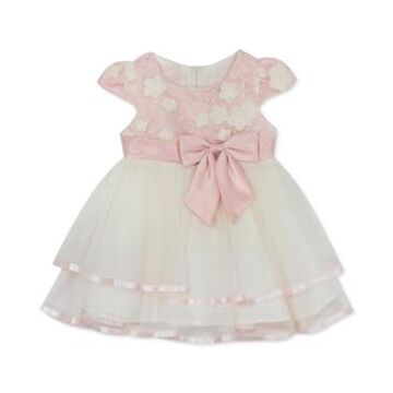 Rare Editions Baby Girls Tiered Mesh Floral Embroidered Dress