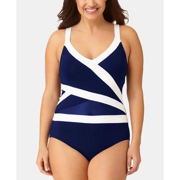 Plus Size Colorblock One-Piece Swimsuit