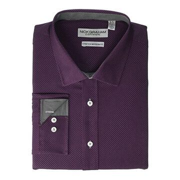 Nick Graham Diamond Stretch Dress Shirt (Burgundy) Men's Clothing