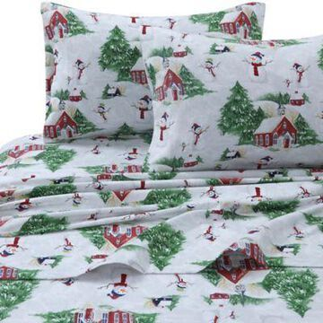 Tribeca Living 170 GSM Snowman Flannel King Sheet Set in Red/Green