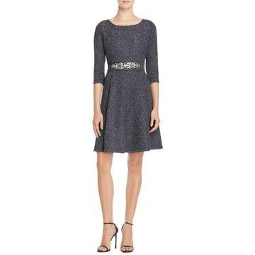Eliza J Womens Glitter Jeweled Belt Cocktail Dress
