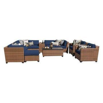 TK Classic Laguna 12 Piece Wicker Patio Sofa Set in Navy