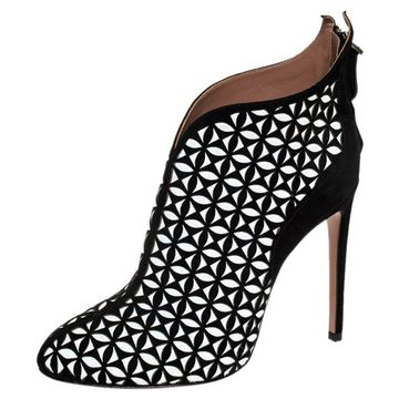 Alaia Black/White Floral Cut Out Suede Booties Size 40