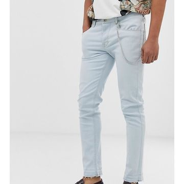 Heart & Dagger skinny jeans in light blue with chain