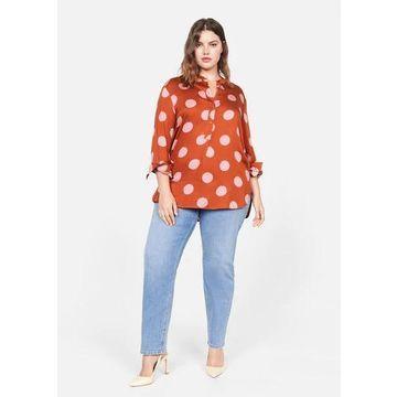 Violeta BY MANGO - Flowy printed blouse burnt orange - 16 - Plus sizes
