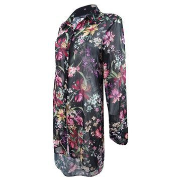 Carmen Marc Valvo Women's Floral Printed Shirt Cover-Up (S, Black) - Black - S