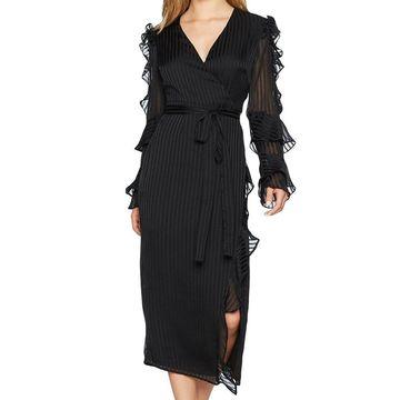 Bardot Black Womens Size Small S Striped Belted Ruffle Wrap Dress
