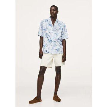 MANGO MAN - Relaxed Hawaiian print shirt off white - L - Men