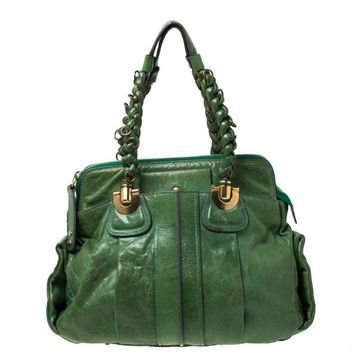 Chloe Green Leather Heloise Satchel