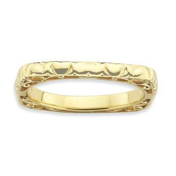 925 Yellow Gold Flashed Silver Multi Heart Style Square Ring