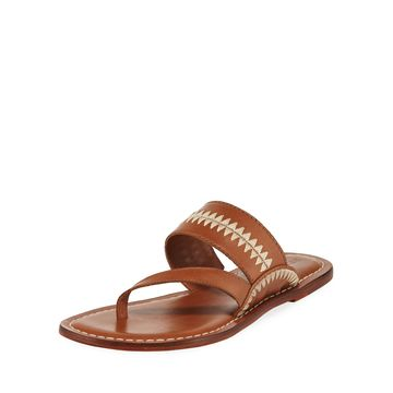 Mary Embroidered Slide Sandals, Brown