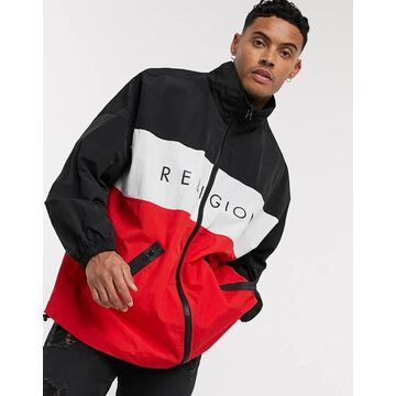 Religion oversized lightweight color block jacket in black