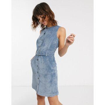 Esprit belt detail cord min dress in blue
