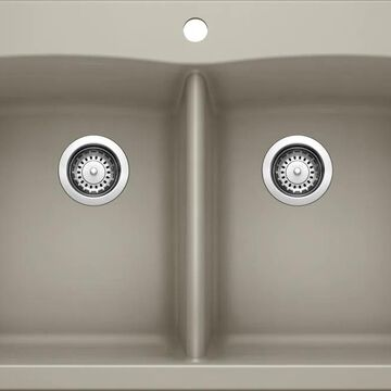BLANCO Diamond Dual-mount 33-in x 22-in Truffle (Brown) Double Equal Bowl 1-Hole Kitchen Sink   441285
