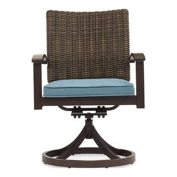 allen + roth Atworth Set of 2 Metal Swivel Dining Chairs with Peacock Blue Cushioned Seat