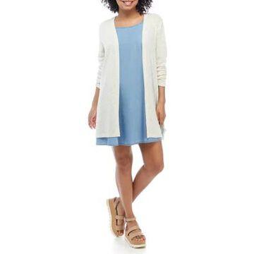 Wallflower Women's Junior's Sleeveless Dress And Cardigan Set - -