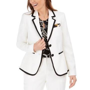 Kasper Contrast-Piped Blazer