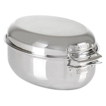 Viking 3-in-1 9 Quart Oval Roaster with Metal Induction Lid and Rack