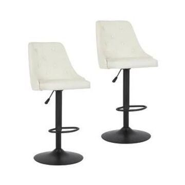 Porthos Home Adelric Stools Set of 2 For Kitchen Bar, Fabric Upholstery