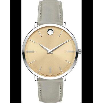 Movado Ultra Slim Beige Dial Grey Calfskin Women's Watch 0607372 0607372